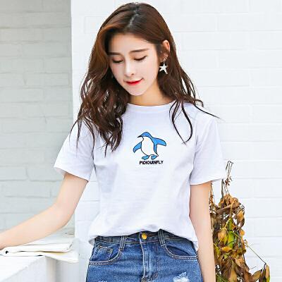 新品韩版宽松百搭夏装棉短袖T恤圆领企鹅绣花女装上衣