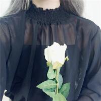 春装女装韩版花边领立领百搭甜美打底衫套头雪纺衫外穿长袖上衣潮