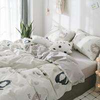 床单四件套全棉纯棉宿舍三件套床上用品少女心被套学生单人床4