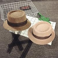 儿童帽子冬天女童渔夫帽羊毛礼帽平沿盆帽秋季宝宝蕾丝带子公主帽