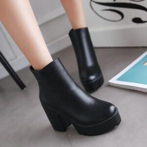 O'SHELL欧希尔新品136-Q48欧美粗跟高跟女士短靴