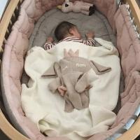 婴儿盖毯宝宝毛毯礼盒挡风毯子纯棉针织被子新生儿百天*棉被 秋冬加绒款小兔绒CM