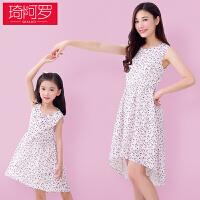 亲子装夏季2018新款母女连衣裙大码时尚印花韩版薄款裙子潮