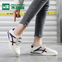 木林森女鞋【轻潮撞色 时尚拼接】新品韩系百搭女款板鞋小白鞋女鞋