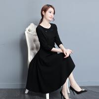 秋装新款女装连衣裙修身小香风中长款大码显瘦气质秋季A字裙