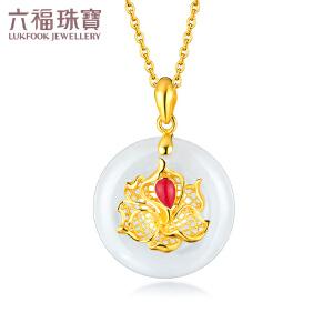 六福珠宝和田玉吊坠牡丹花珐琅黄金吊坠不含链平安扣女款定价EDA1N70008