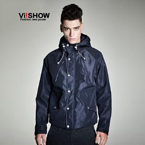 VIISHOW秋装新款青年连帽夹克男士黑色修身外套休闲茄克衫