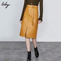 【不打烊价:263元】 Lily2019秋新款女装时髦斜门襟高腰开叉仿皮裙子PU过膝半身裙6930