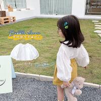 童装女童长袖衬衫中小儿童白色衬衣宝宝春秋款上衣