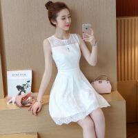 夏季无袖小白裙白色冷淡风裙子夏女2018新款潮蕾丝短款清新连衣裙 白色 S 【推荐95斤以下】
