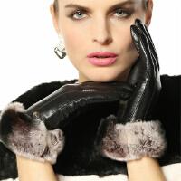 新品时尚大气皮手套女保暖加绒獭兔毛口进口羊皮真皮手套 可礼品卡支付