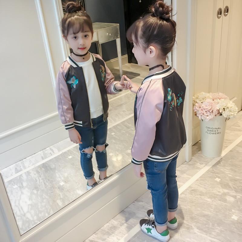 童装女童春装外套儿童洋气春秋夹克上衣小女孩棒球服