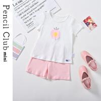 【89元3件】铅笔俱乐部童装女童家居服小童套装儿童短袖两件套2021夏装