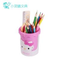 凯蒂猫KT9407圆形塑胶笔筒 HELLO KITTY女孩收纳盒中小学生摆件