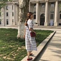 夏装短袖宽松高腰格子连衣裙韩版新款甜美学生A字中长裙子
