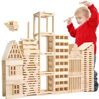 智力玩具早教玩具儿童木制建筑棒 纯木条木片积木堆塔1-3-6岁