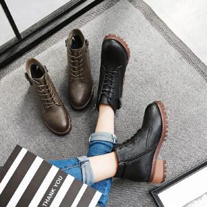 毅雅2017秋冬季女鞋复古系带马丁靴女英伦风高跟粗跟防滑短靴靴子