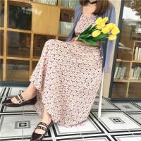 2018春季女韩版学院风甜美度假雪纺裙波西米亚长裙碎花印花吊带裙