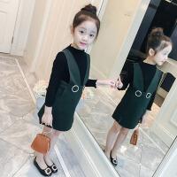 两件套中大童5-12岁女孩洋气衣服 2018春装女童裙子套装儿童背带裙