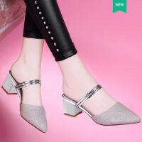 莱卡金顿新款女中跟夏天包头女鞋韩版两穿夏天女士高跟鞋子粗跟潮6473
