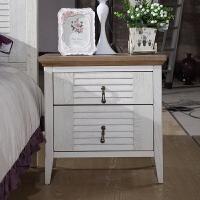 尚满 地中海系列实木框架床头柜/斗柜/储物柜 仿古白卧室家具套装组合 白色