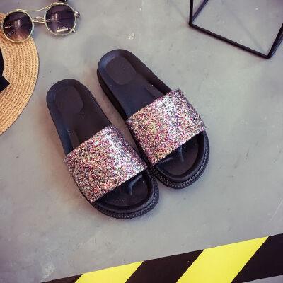 ELEISE美国艾蕾莎新品156-045韩版亮片布平跟女士凉拖鞋