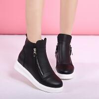 短靴女冬季平底内增高加绒棉鞋马丁靴大码40-43 白底黑色棉靴 33