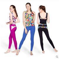 瑜伽服两件套印花速干背心健身房女长裤瑜伽套装透气时尚含运动胸垫