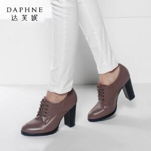 Daphne/达芙妮时尚舒适休闲学院圆头中粗高跟女单鞋