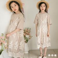 亲子童装2018夏装新款韩版女童蕾丝连衣裙中大儿童吊带裙两件套装