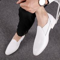 韩版男鞋冬季小白鞋男士休闲套脚皮鞋透气白色懒人潮鞋内增高婚鞋