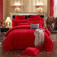 家纺欧式水晶绒夹棉绗缝蕾丝边床裙四件套冬季加厚保暖加绒短毛绒床罩