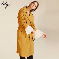 Lily2017秋新款女装经典双排扣中长款风衣117320C1201