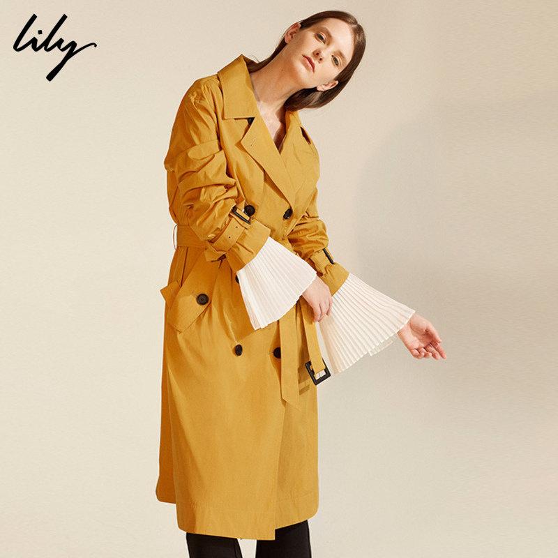 LILY春新款风衣女装经典双排扣中长款风衣117320C1201 时髦格调季~全场满499减100,活动时间7.18-7.26