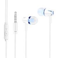 夜光发光荧光耳机游戏吃鸡手机电脑重低音入耳式耳机男女生通用不伤耳 蓝色 E18经典版 标配