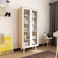北欧现代简约板式带门书柜2门玻璃储物柜书房大容量置物书架 书柜 0.8-1米宽