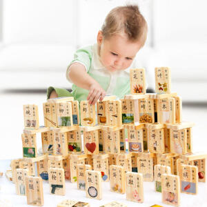 【领券立减50元】米米智玩 盒装新汉字多米诺100片多米诺骨牌 儿童益智早教木制积木玩具 儿童节玩具活动专属