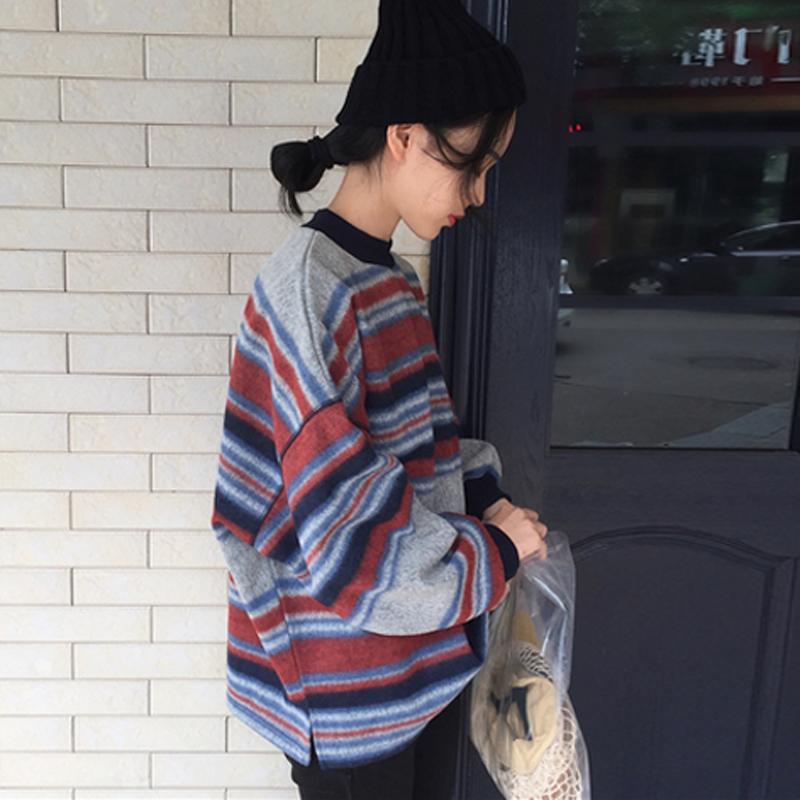 20180320041425354春秋女装新款韩版宽松显瘦百搭撞色条纹长袖卫衣套头上衣学生外套 发货周期:一般在付款后2-90天左右发货,具体发货时间请以与客服协商的时间为准