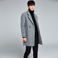 秋冬季男士风衣韩版宽松条纹双排扣中长款毛呢大衣男外套妮子大衣 灰色