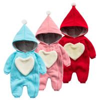 女婴儿连体衣服秋冬季0岁2个月男宝宝3冬装新生儿衣服靓仔外出服