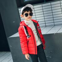 2017新款儿童羽绒棉服男童连帽条纹棉袄女童中长款外套