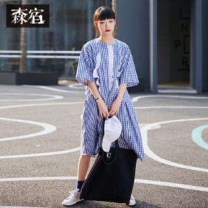 【5折参考价120.8】森宿夏装2018新款文艺木耳边装饰短袖连衣裙女