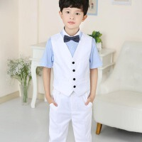 儿童主持演出服装 男童礼服马甲套装儿童小西服花童西装韩版 四件套短袖长裤马甲套装