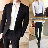 新款韩版男士小西装英伦修身休闲西服黑色商务西装青年外套男 +裤子