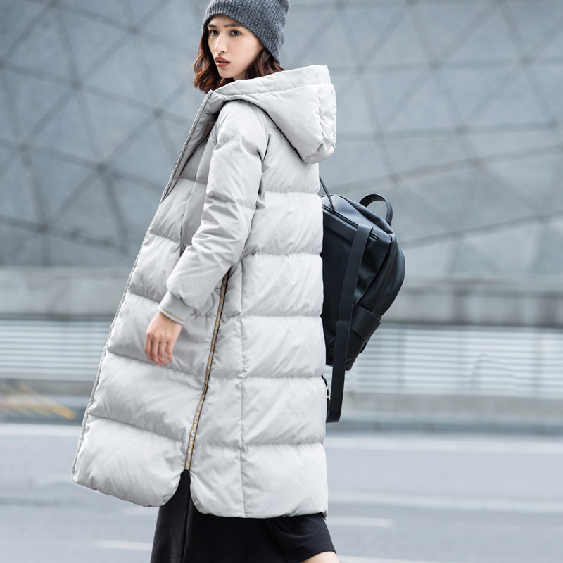 Amii[极简主义]2017年冬装新款90绒修身长过膝加厚羽绒服女装宽松_浅灰,170/92A/XL