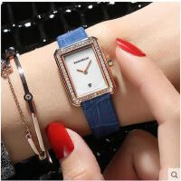 半指镶钻闪亮手表休闲百搭时装表方形皮带女表时尚防水石英手表
