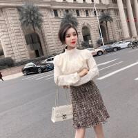 连衣裙秋冬季2018女神新款时尚韩版名媛修身显瘦假两件鱼尾裙子潮