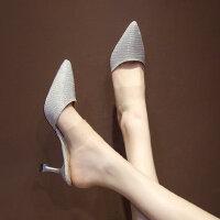 女士时尚性感尖头高跟鞋 新款细跟金色凉鞋女 韩版包头半拖鞋女外穿