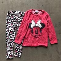 女童女宝宝家居服套装 女童卡通米妮天鹅绒睡衣家居服套