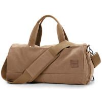 大容量旅行包手提短途多功能健身运动女帆布旅行袋行李包男 卡其色 大